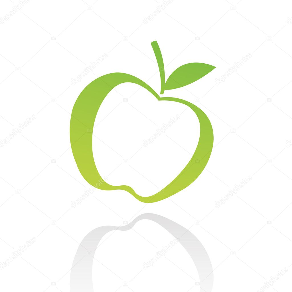 Green line art apple isolated on white — Stock Vector #3881967