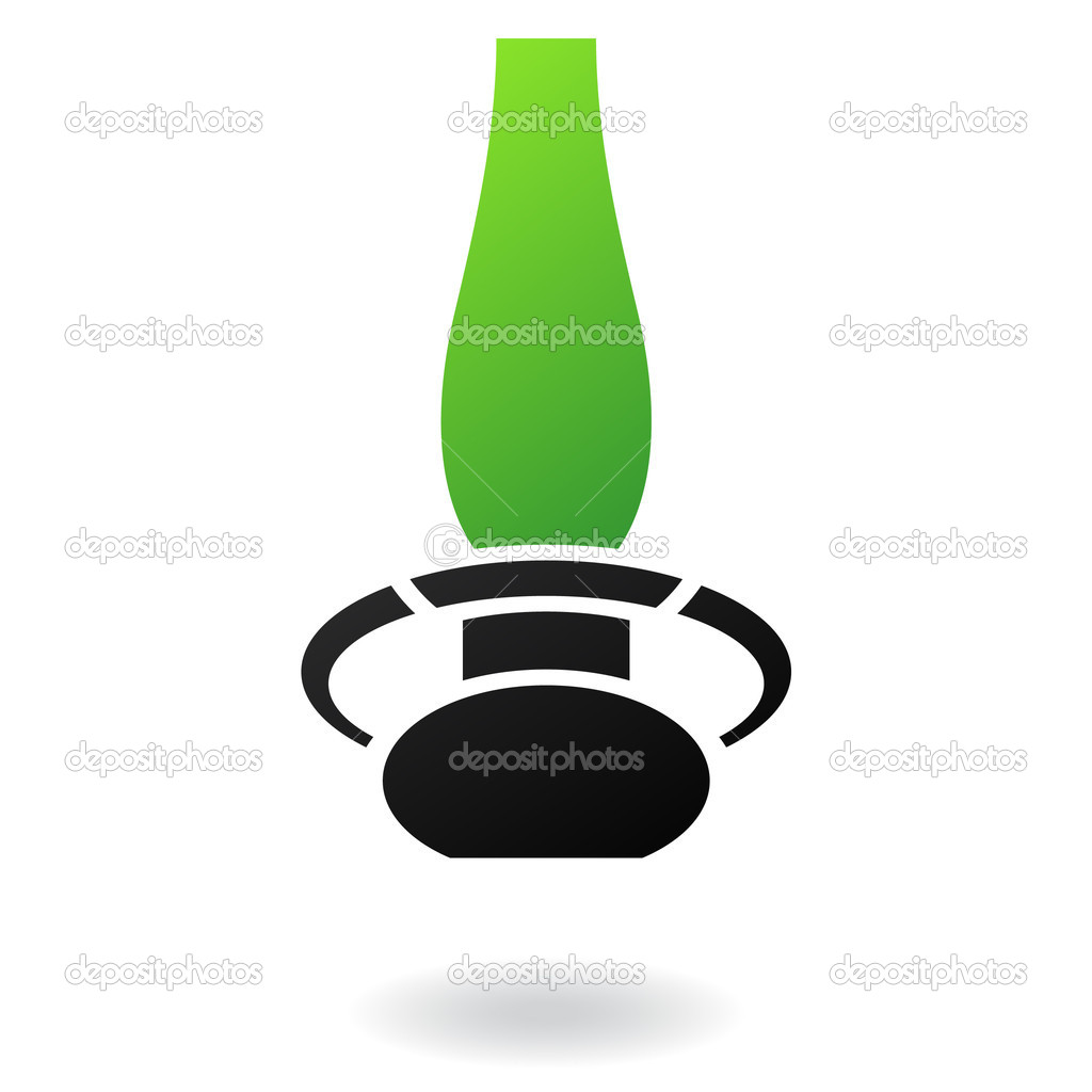 Gas lamp with green glass and black body isolated on white — Imagen vectorial #3882388
