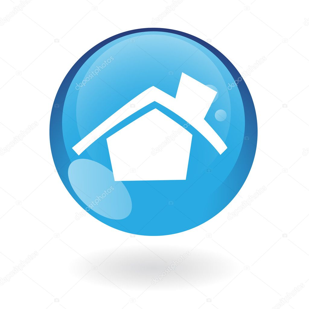 Glossy home in blue button isolated on white — Stock Vector #3882498