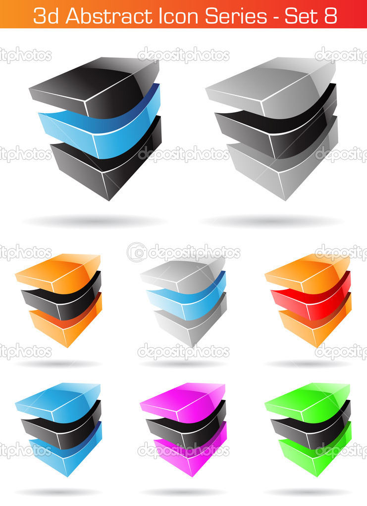 Vector EPS illustration of 3d Abstract Icon Series - Set 8 — Stock Vector #3887616