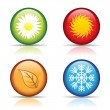 Four seasons icons - 图库矢量图片