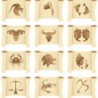 Horoscopes on manuscripts - Stock Vector