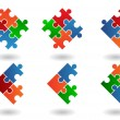 Jigsaw puzzle icons - Stock Vector