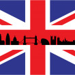 Stock Vector: London on union jack flag