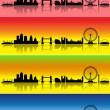 London in four seasons — Stock Vector