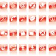 Red web icons - Stock Vector
