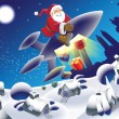 Vector de stock : Rocket santa