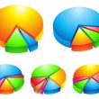 3d pie graphs - Stock Vector