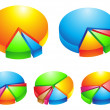 Stock Vector: 3d pie graphs