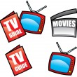 TV Guide and Television - Stok Vektr
