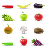 Fruit and vegetable icons — Stock Vector