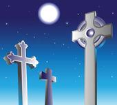 Graveyard at night — Stock Vector