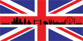 London on union jack flag — Stock Vector