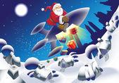 Rocket santa — Stock Vector
