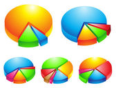 3d pie graphs — Stock Vector