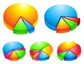 3d pie graphs — Stock Vector