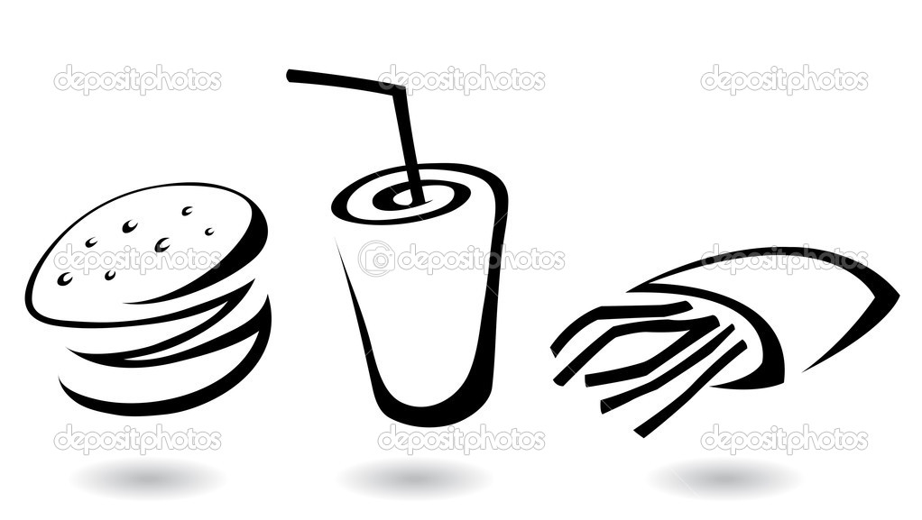 Fast Food Icon Vector Fast Food Icons Line Art