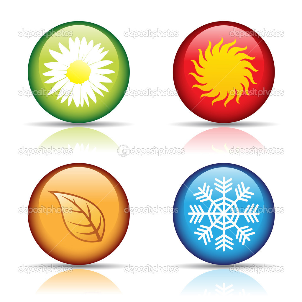 Vector of colorful four seasons icons isolated on white  — Stock Vector #3890211