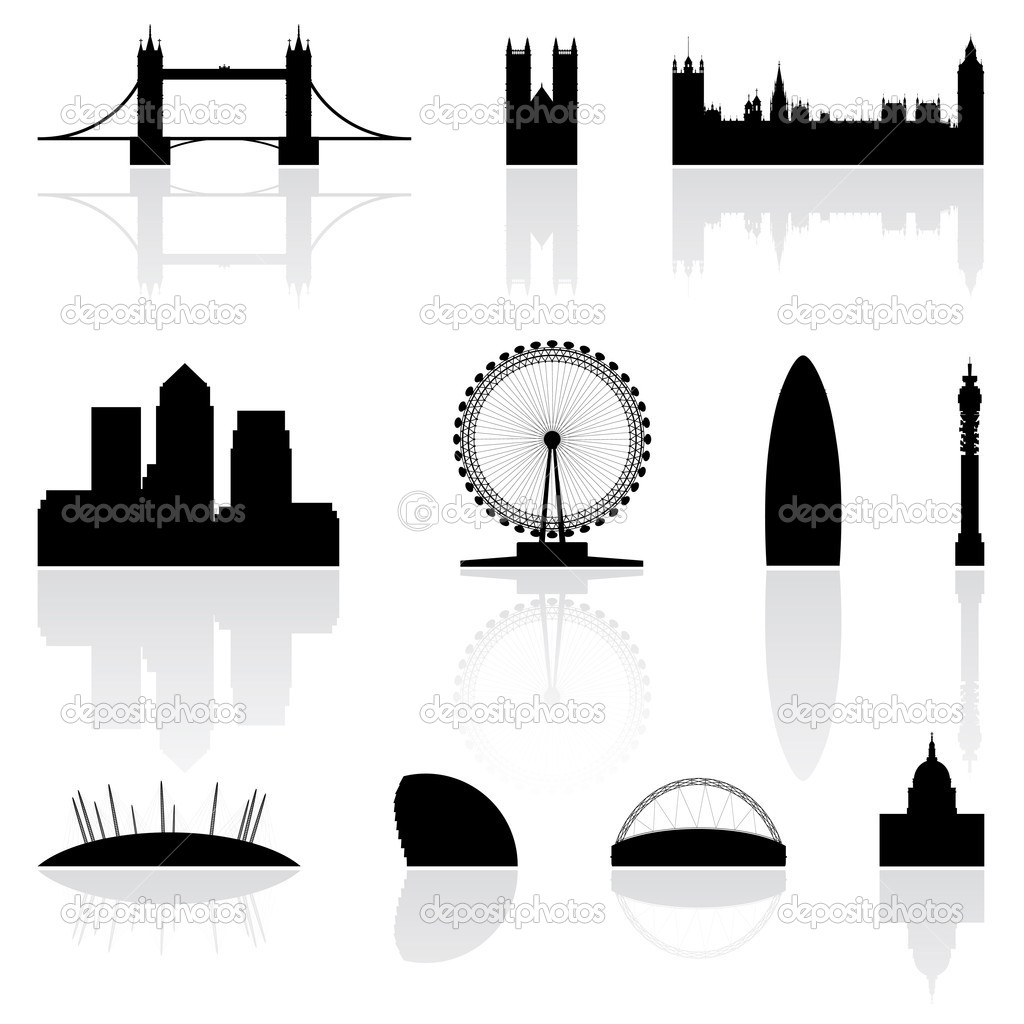 London famous landmarks isolated on a white background  — Stock Vector #3891240