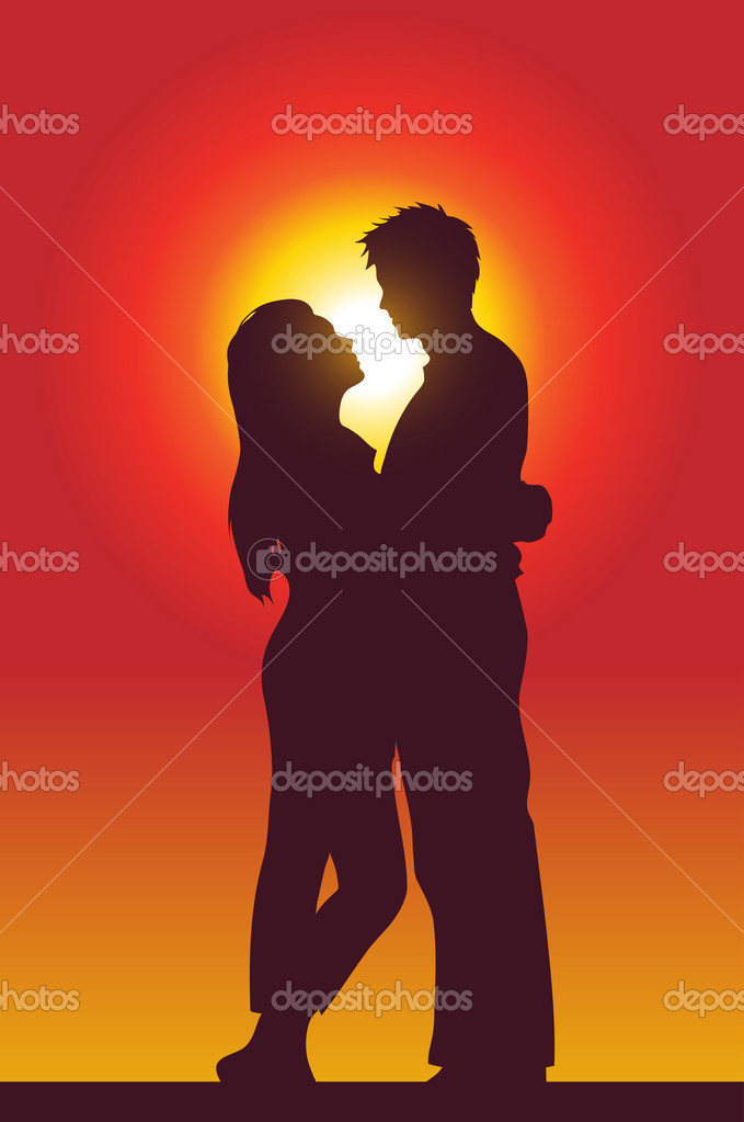 A happy couple holding each other, silhouette  — Stock Vector #3891328