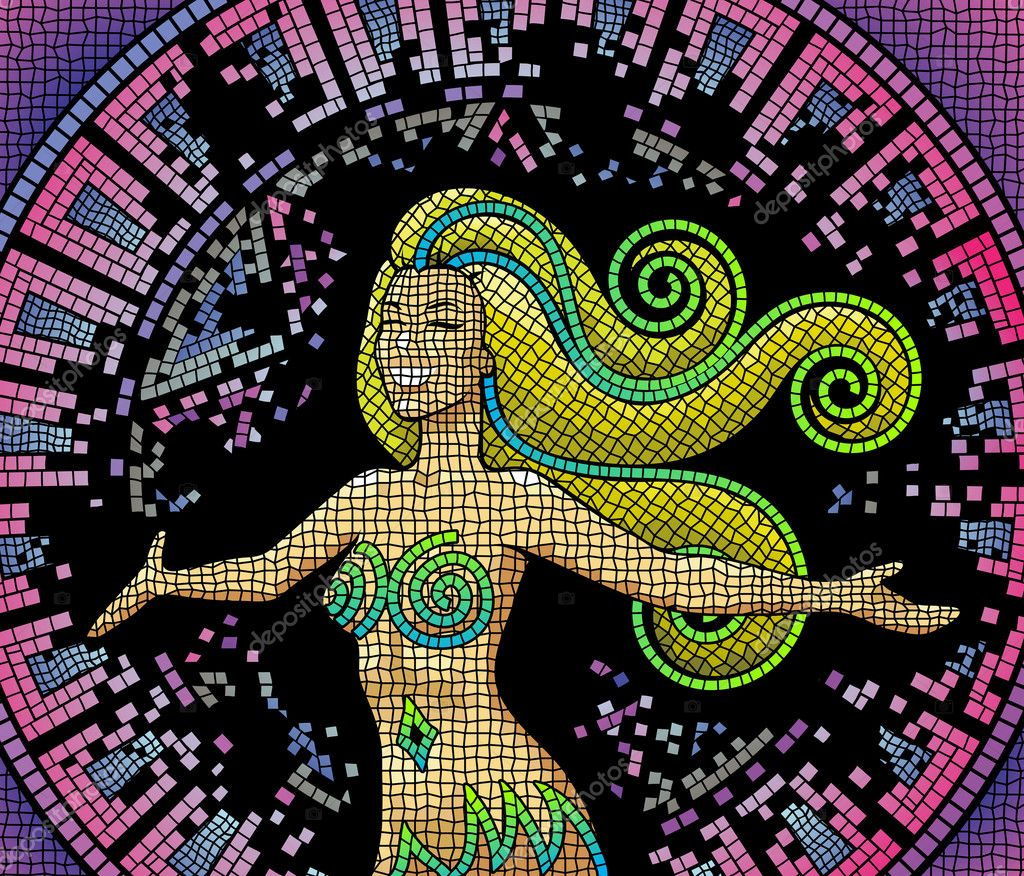 A happy smiling goddess on an ancient mosaic background  — Image vectorielle #3892144