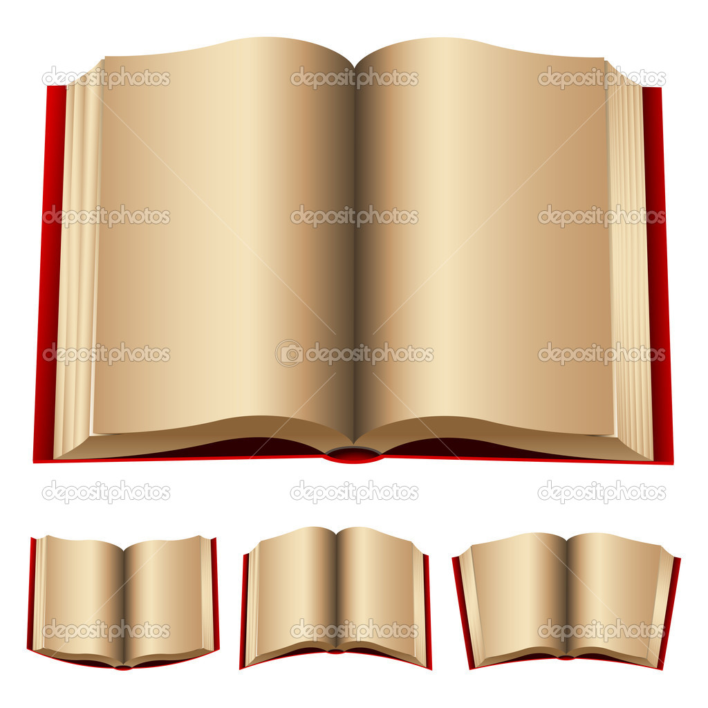 Open red books isolated on a white background  — Stock Vector #3892319