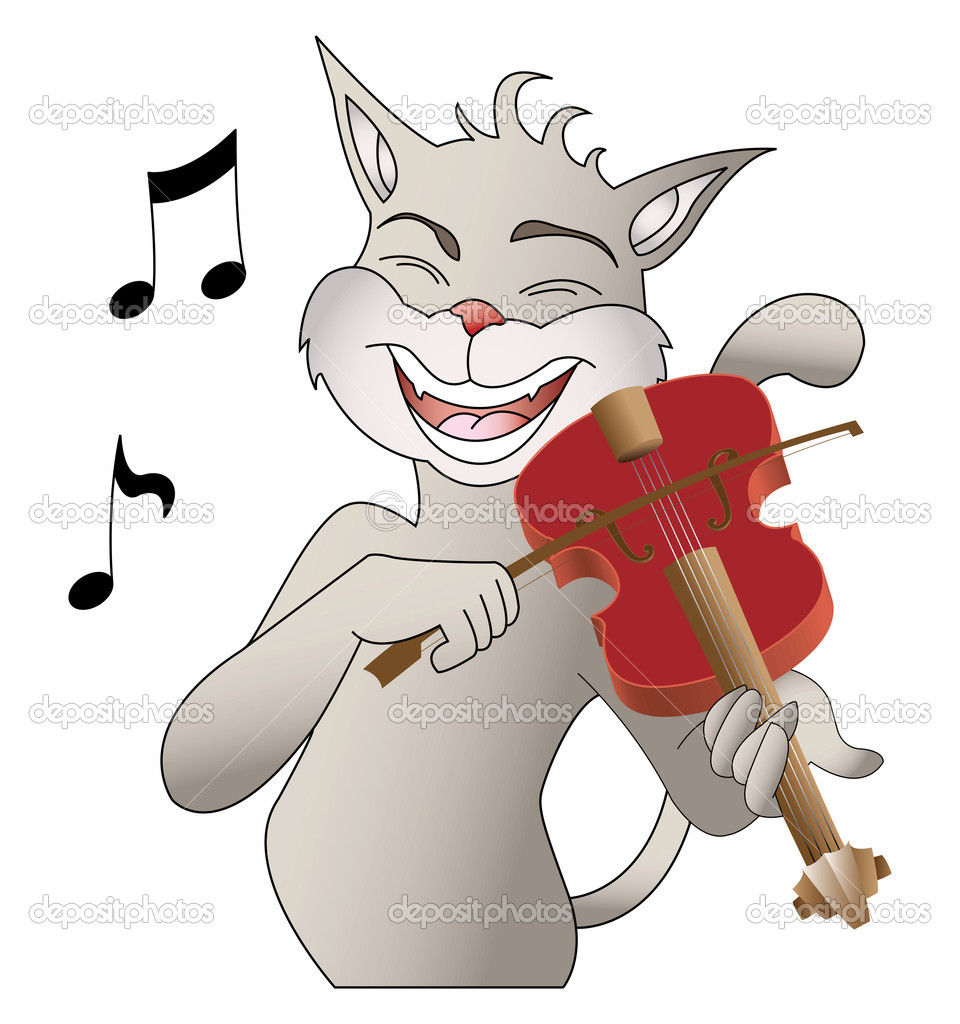 Singing cat and violin vector  — Stock Vector #3892889