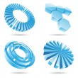 Ice blue 3d abstract icons — Stock Vector