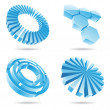 Stock Vector: Ice blue 3d abstract icons