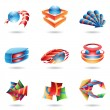 Stock Vector: Colorful Abstract 3D Icons