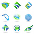 Various green and blue abstract icons, set 1 - Stock Vector