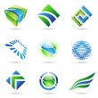 Stock Vector: Various green and blue abstract icons, set 1