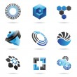 Various blue abstract icons, Set 4 — Stock Vector