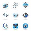 Abstract blue and black icon set 13 — Stock Vector
