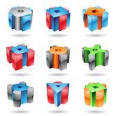 Kubieke en cilindrische metallisch glanzend vormen — Stockvector