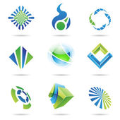 Various blue and green abstract icons, Set 6 — Stock Vector