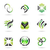 Various green abstract icons, Set 9 — Stock Vector