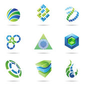 Abstract blue and green Icon Set 11 — ストックベクタ