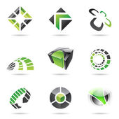 Abstract black and green Icon Set 15 — Stock Vector