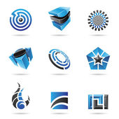 Abstract blue and black Icon Set 16 — Stock Vector
