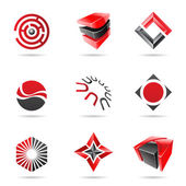 Abstract black and red Icon Set 18 — Stock Vector