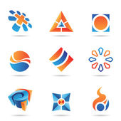 Abstract blue and orange Icon Set 22 — Stock Vector
