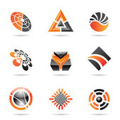 Abstract black and orange Icon Set 23 — Stock Vector