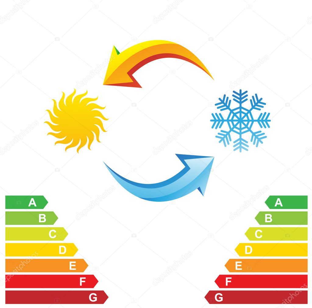 Air conditioning symbols and energy class chart isolated on a white background — Stock Vector #3919023