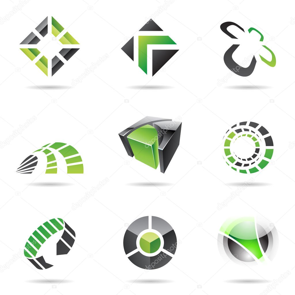 Abstract black and green icon set isolated on a white background — Stock Vector #3919517
