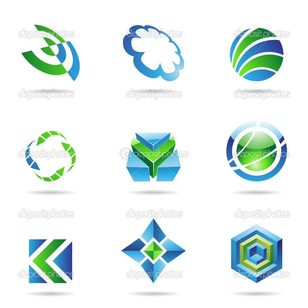 Abstract blue and green Icon Set isolated on a white background — Stock Vector #3919543