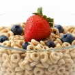 Bowl of oat cereal with blueberries — Stock Photo