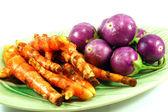 Thai purple eggplant and Turmeric — Stock Photo