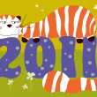 2011 year lazy cat card — Vector de stock