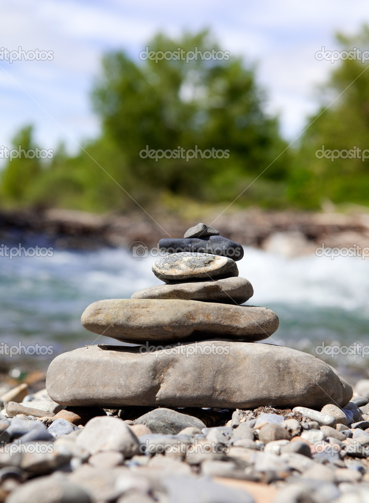 Detail concept zen stones and river — Stock Photo #3919596